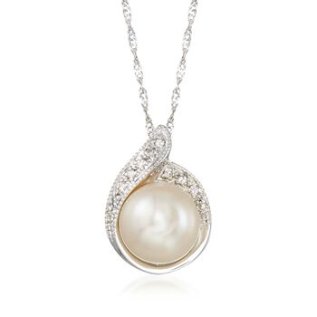 """8.5-9mm Cultured Pearl Pendant Necklace With Diamond Accents in 14kt White Gold. 18"""", , default"""