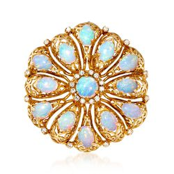 C. 1960 Vintage Opal and .45 ct. t.w. Diamond Pin Pendant in 18kt Yellow Gold , , default