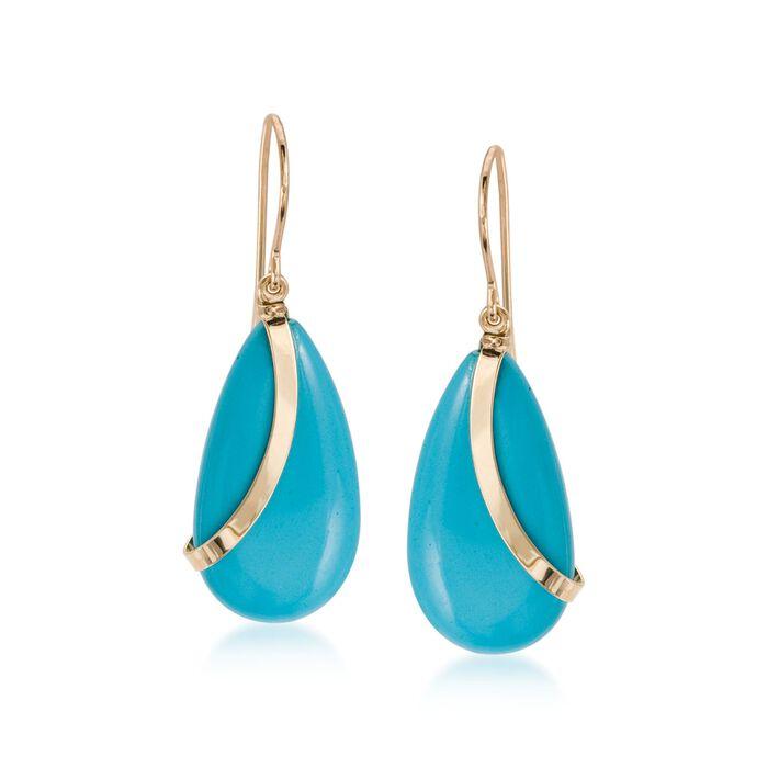 Turquoise Teardrop Earrings in 14kt Yellow Gold