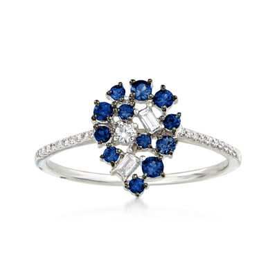 .20 ct. t.w. Sapphire and .15 ct. t.w. Diamond Pear-Shaped Ring in 18kt White Gold
