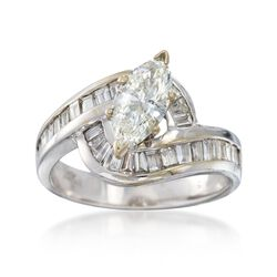 C. 1980 Vintage 1.84 ct. t.w. Marquise and Baguette Diamond Ring in 14kt White Gold. Size 6.5, , default