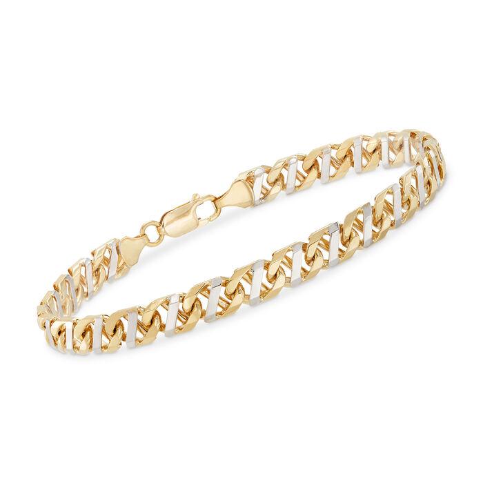 """14kt Two-Tone Gold Mariner-Link Bracelet. 8.5"""", , default"""
