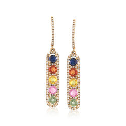 1.90 ct. t.w. Multicolored Sapphire and .57 ct. t.w. Diamond Linear Drop Earrings , , default
