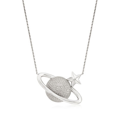 Sterling Silver Textured and Polished Celestial Necklace
