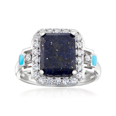 Lapis, Blue Enamel and .50 ct. t.w. White Topaz Ring in Sterling Silver, , default