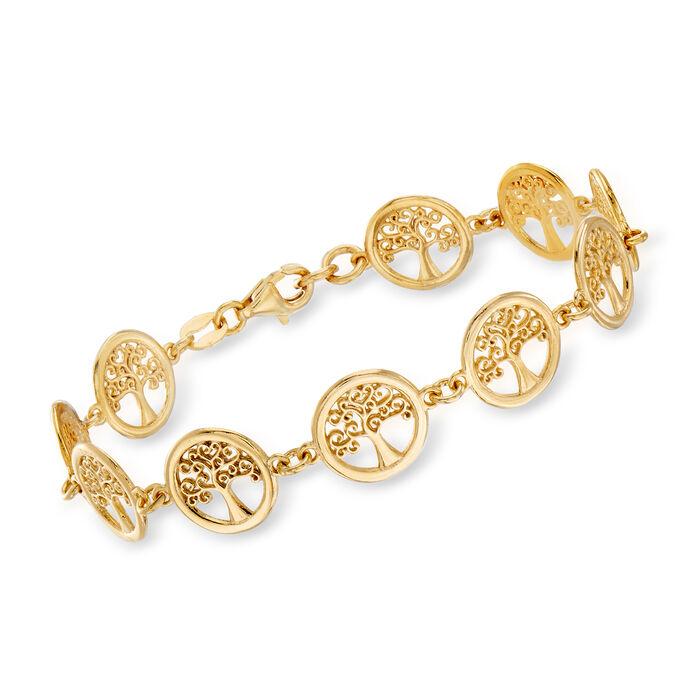 Italian 18kt Gold Over Sterling Tree of Life Bracelet, , default