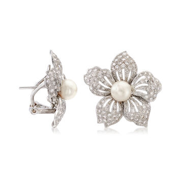 C. 1980 Vintage 2.09 ct. t.w. Diamond and 7mm Pearl Floral Earrings in 18kt White Gold