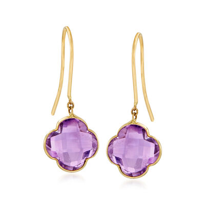 Italian 3.00 ct. t.w. Amethyst Clover Drop Earrings in 14kt Yellow Gold