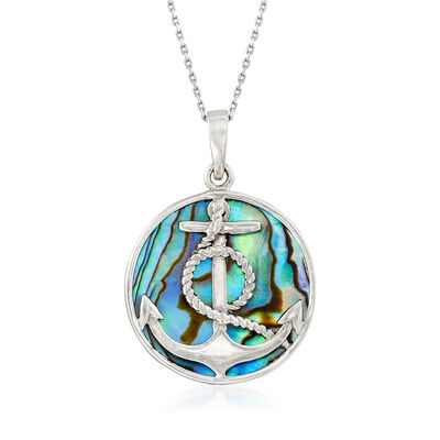 25mm Multicolored Abalone Shell Anchor Necklace, , default