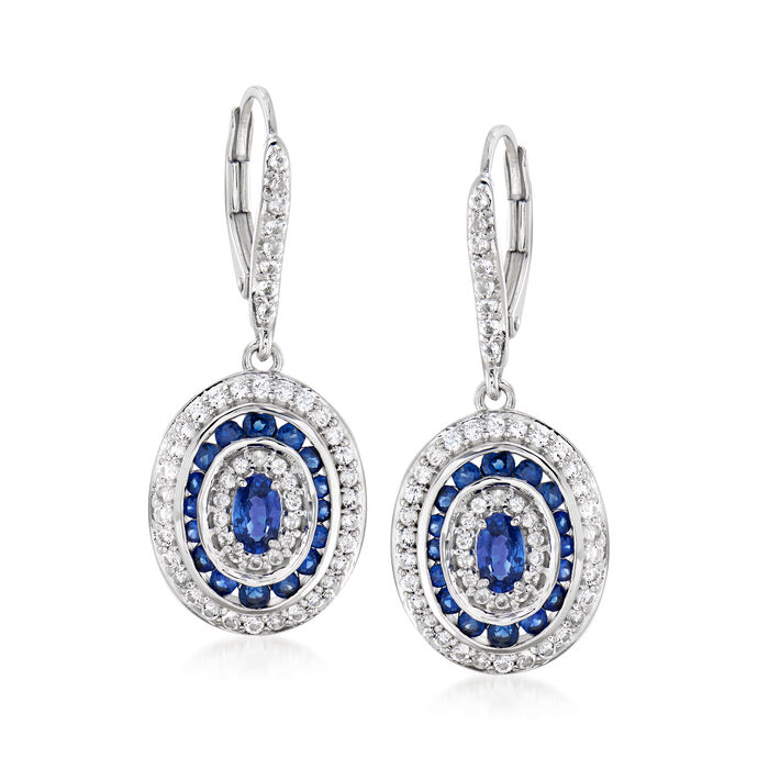 1.50 ct. t.w. Sapphire and .90 ct. t.w. White Topaz Drop Earrings in Sterling Silver