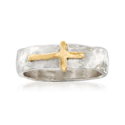 Sterling Silver and 14kt Yellow Gold Sideways Cross Ring