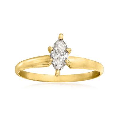 C. 1990 Vintage .20 Carat Diamond Ring in 14kt Yellow Gold