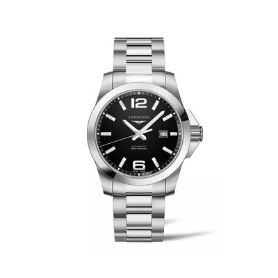 Longines Conquest Men's 43mm Automatic Stainless Steel Watch - Black Dial, , default