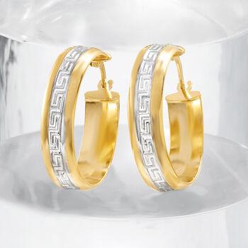 """Italian 14kt Two-Tone Gold Greek Key Hoop Earrings. 7/8""""."""