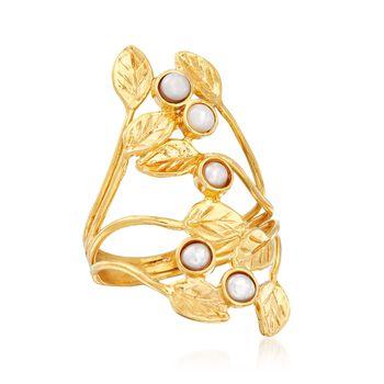 3mm Cultured Pearl Leaf Ring in 18kt Gold Over Sterling, , default