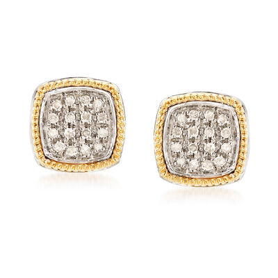 .10 ct. t.w. Diamond Two-Tone Square Earrings in 14kt Yellow Gold and Sterling Silver, , default