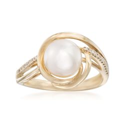 8.5mm Cultured Pearl Ring With Diamond Accents in 14kt Yellow Gold, , default
