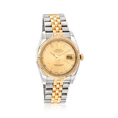 Pre-Owned Rolex Datejust Men's 36mm Automatic Stainless Steel and 18kt Yellow Gold Watch