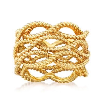 """Roberto Coin """"Barocco"""" Roped Ring in 18kt Yellow Gold, , default"""