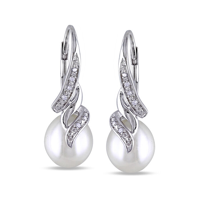 9-9.5mm Cultured Pearl Drop Earrings with Diamond Accents in Sterling Silver, , default