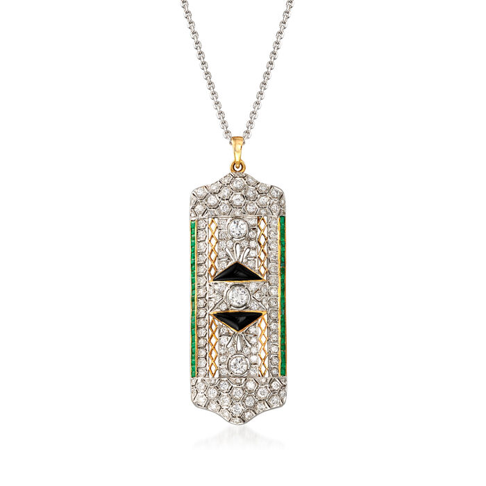 "C. 1960 Vintage 3.00 ct. t.w. Diamond and 1.25 ct. t.w. Emerald Pin/Pendant Necklace with Black Onyx in 18kt Two-Tone Gold. 17"", , default"