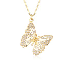 "Italian 1.15 ct. t.w. CZ Butterfly Pendant Necklace in 24kt Gold Over Sterling. 15.75"", , default"
