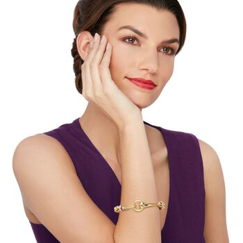 "Italian 18kt Yellow Gold Braided Link Bracelet with Horsebit Clasp. 8.25"", , default"