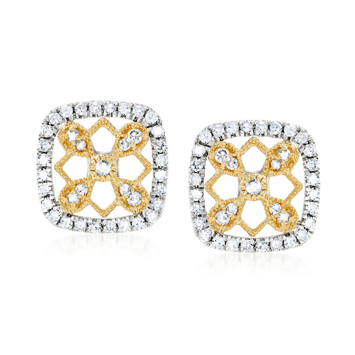 .50 ct. t.w. Diamond Geometric Earrings in Sterling Silver and 14kt Yellow Gold