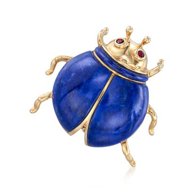 Lapis and Ruby-Accented Beetle Pin in 14kt Yellow Gold , , default