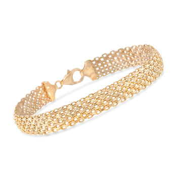 Italian 14kt Yellow Gold Multi-Row Bismark-Link Bracelet, , default
