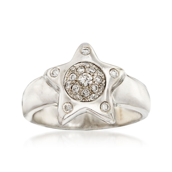 C. 1990 Vintage .25 ct. t.w. Diamond Star Ring in 14kt White Gold. Size 7
