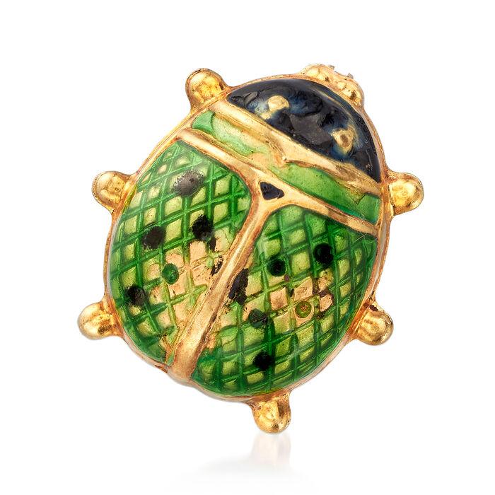 C. 1970 Vintage Green Enamel Ladybug Pin in 18kt Yellow Gold