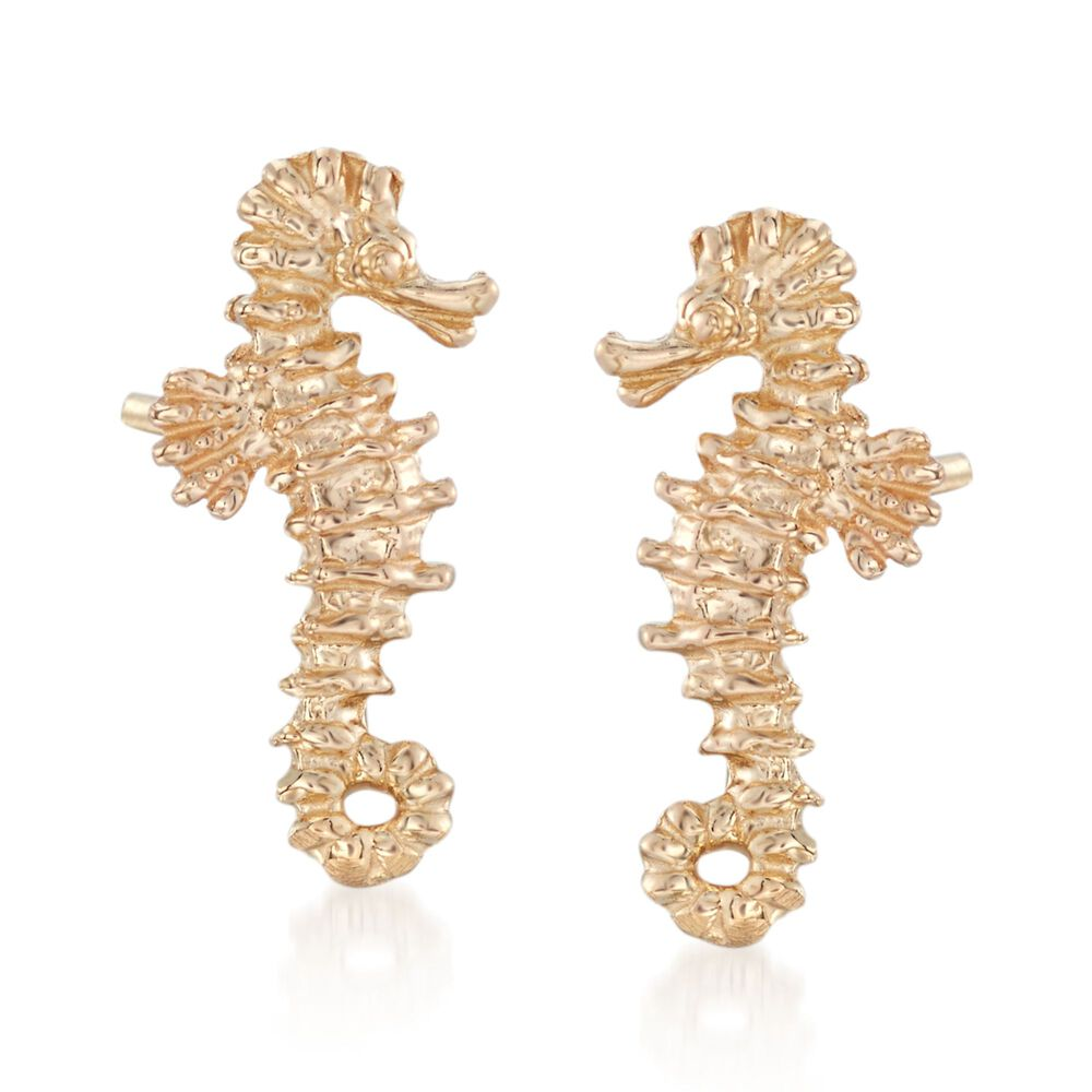 14kt Yellow Gold Mini Seahorse Stud Earrings Default