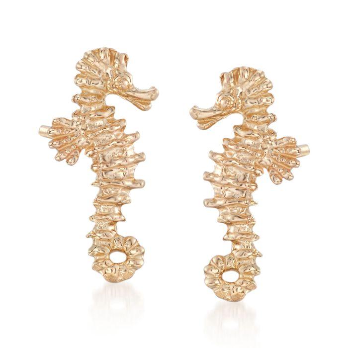 14kt Yellow Gold Mini Seahorse Stud Earrings, , default