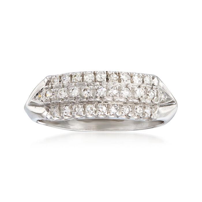 C. 1950 Vintage .50 ct. t.w. Diamond Three-Row Ring in Platinum. Size 7.75