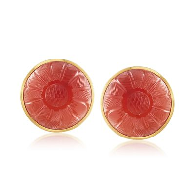 C. 1980 Vintage 20mm Carved Carnelian Floral Clip-On Earrings in 18kt Yellow Gold, , default