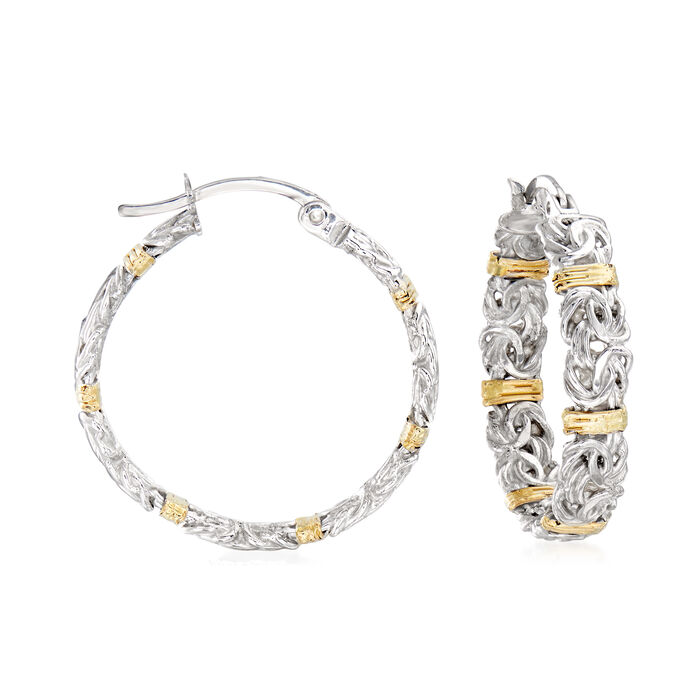 """Byzantine Station Hoop Earrings in Sterling Silver with 14kt Yellow Gold. 1"""""""