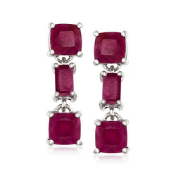 7.00 ct. t.w. Ruby Drop Earrings in Sterling Silver, , default
