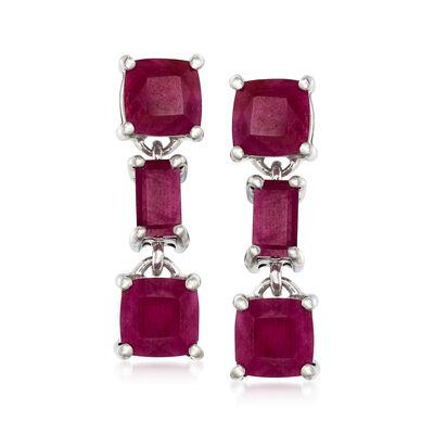7.00 ct. t.w. Ruby Drop Earrings in Sterling Silver, , default