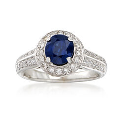 C. 1990 Vintage 1.35 Carat Sapphire and .55 ct. t.w. Diamond Halo Ring in 14kt White Gold, , default