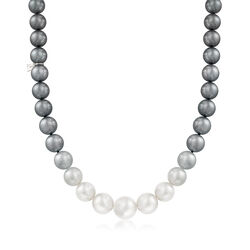 Mikimoto 9.2-13.9mm Multicolored South Sea Pearl Ombre Necklace With 18kt White Gold and Diamond Accent, , default