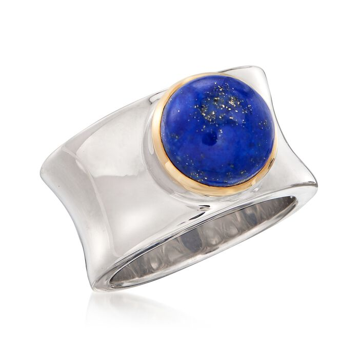 Lapis Cabochon Ring in 14kt Yellow Gold and Sterling Silver