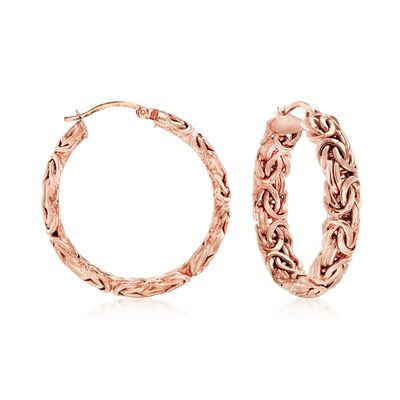 18kt Rose Gold Over Sterling Silver Byzantine Hoop Earrings, , default