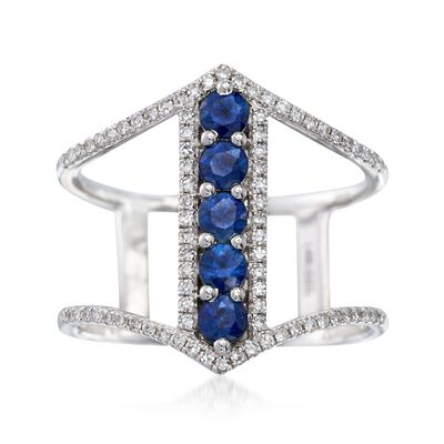.60 ct. t.w. Sapphire and .23 ct. t.w. Diamond Open-Space Ring in 14kt White Gold, , default