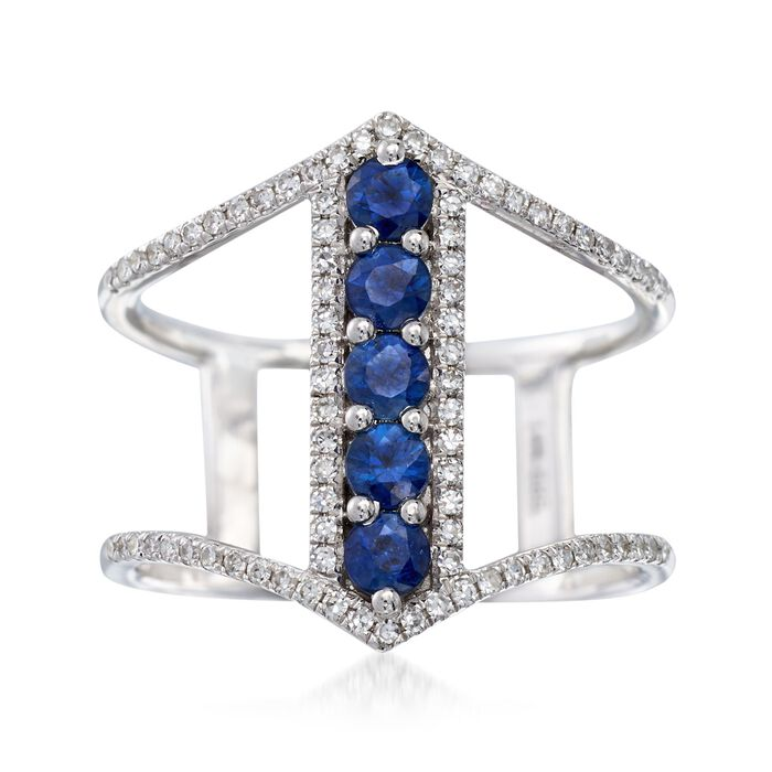 .60 ct. t.w. Sapphire and .23 ct. t.w. Diamond Open-Space Ring in 14kt White Gold. Size 5, , default