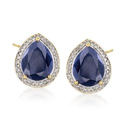 Indian Sapphire and .19 ct. t.w. Diamond Earrings in 14kt Yellow Gold, , default