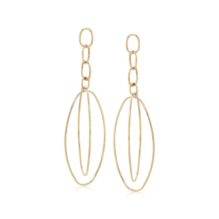 14kt Yellow Gold Multi-Oval Open Drop Earrings, , default