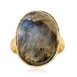 Cabochon Labradorite Brushed Ring in 18kt Gold Over Sterling, , default