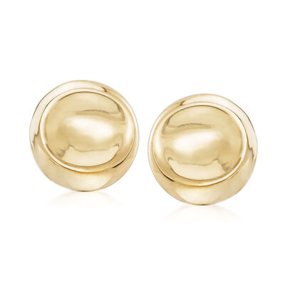Italian 18kt Yellow Gold Round Clip-On Earrings, , default
