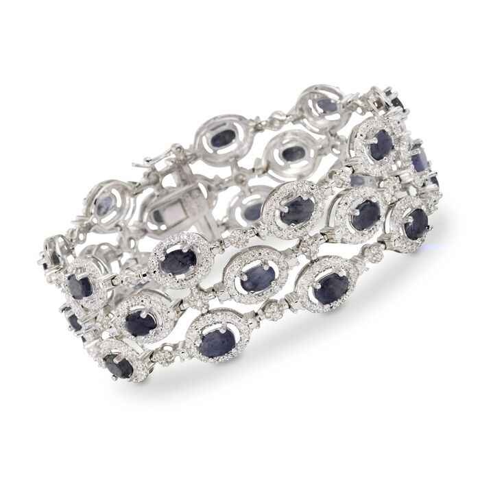 """11.50 ct. t.w. Sapphire Bracelet with Diamond Accent in Sterling Silver. 7.25"""""""